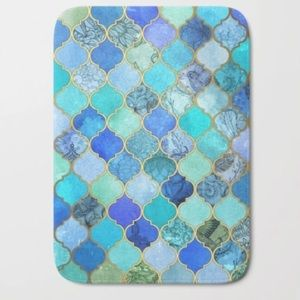 Other - Blues And Gold Moroccan Tile Bath Mat- brand new
